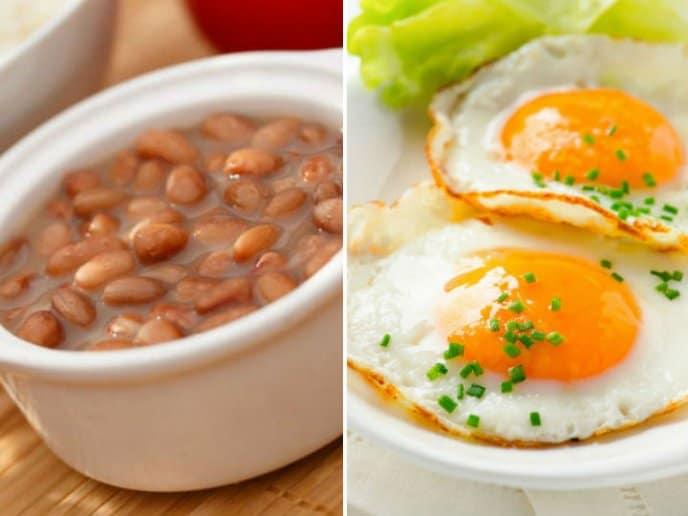 frijoles y huevo- Licuado de Plátano y Guayaba para mejorar la atención